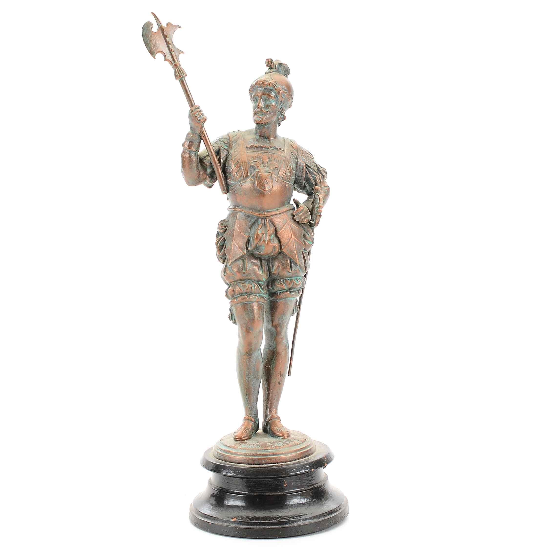 Renaissance Era European Soldier Brass Statue