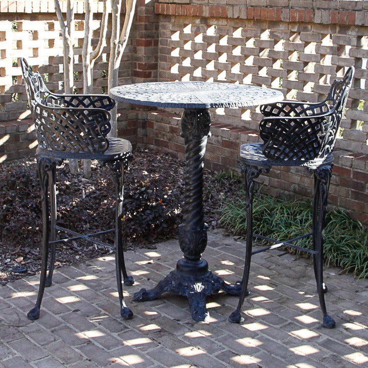 Cast Iron Pub Style Patio Table and Chairs