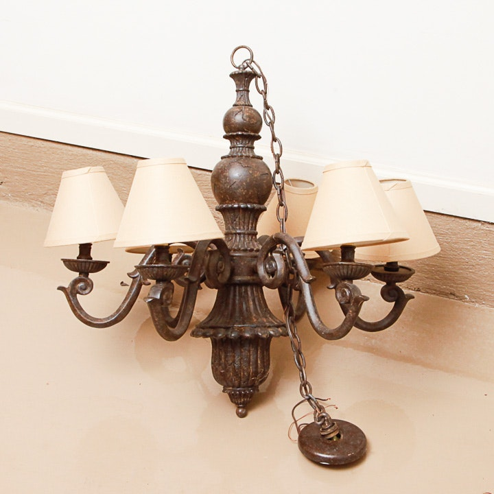 Large Patinaed Metal Chandelier with Shades