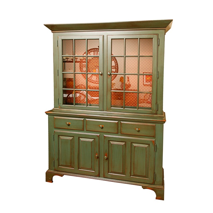 Painted Colonial Style Lighted China Cabinet