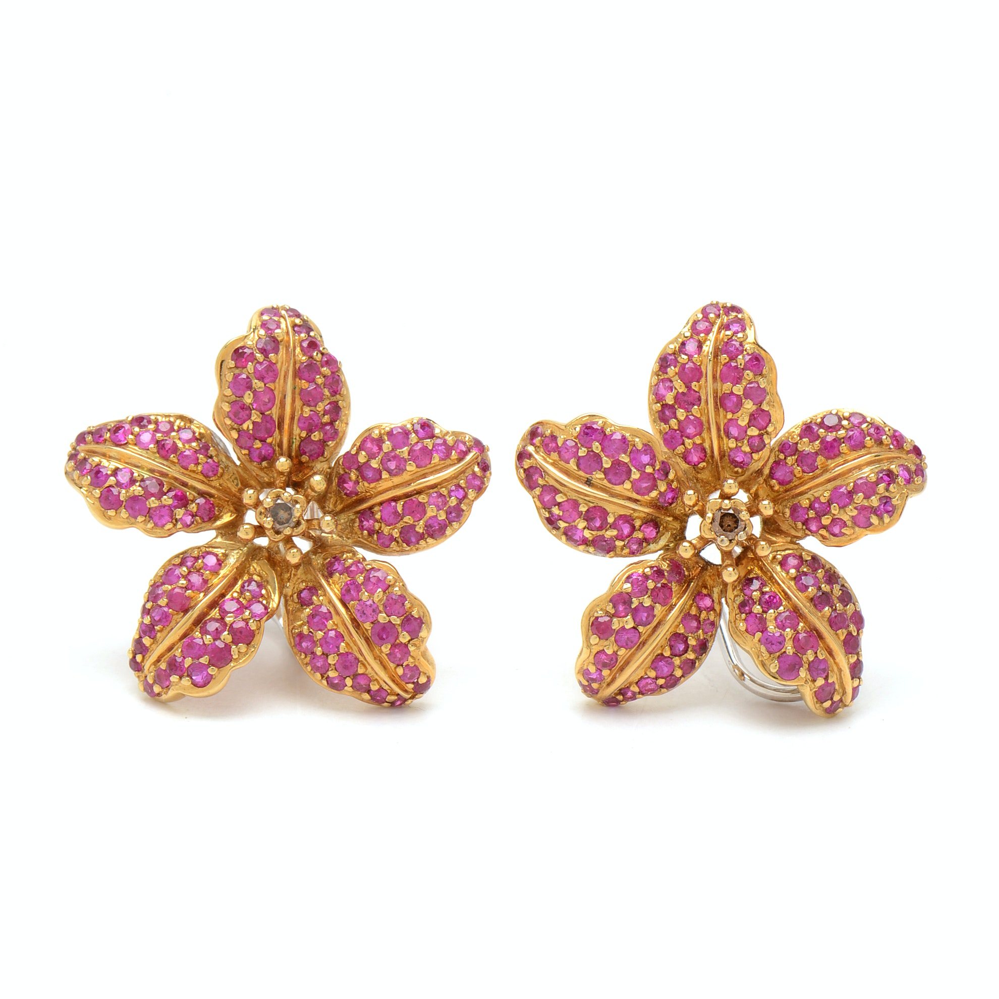 Samuel Benham 18K Yellow and White Gold Diamond and Ruby Lily Earrings