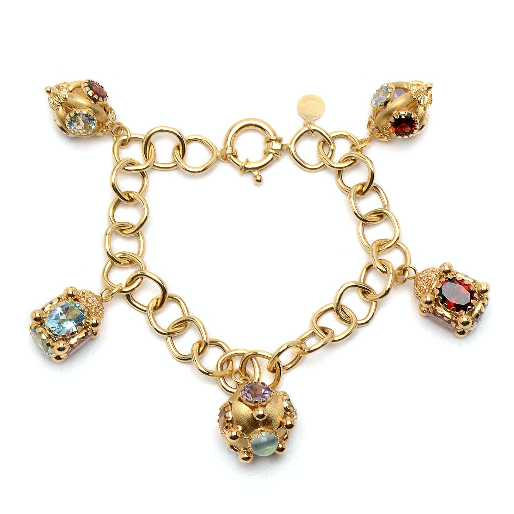 18K Yellow Gold Multiple Gemstone Charm Bracelet