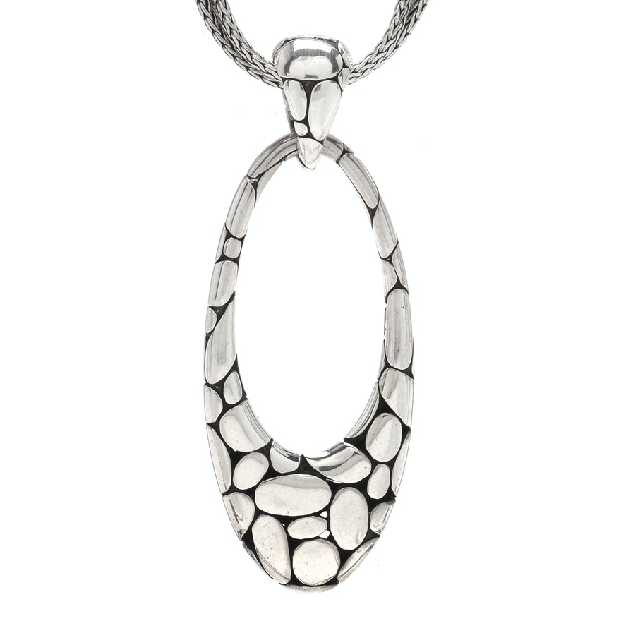 John hardy sterling silver kali oval drop pendant necklace ebth john hardy sterling silver kali oval drop pendant necklace aloadofball Image collections