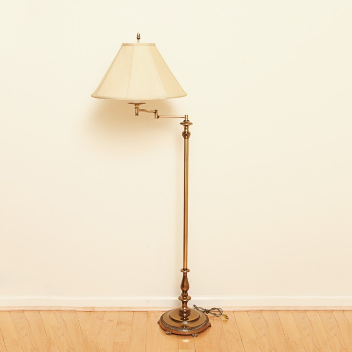 Brass Adjustable Arm Floor Lamp With Shade