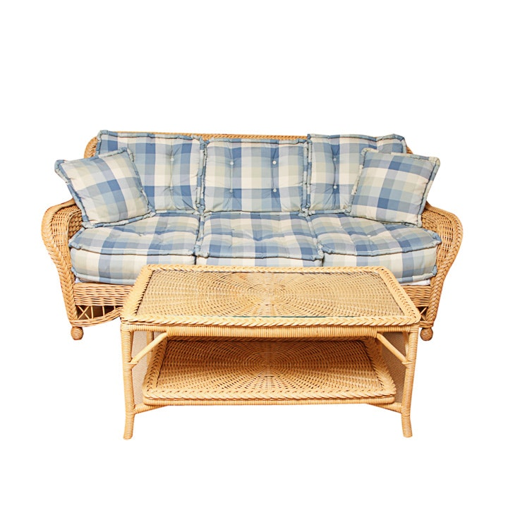 Wicker Sofa with Coordinating Coffee Table
