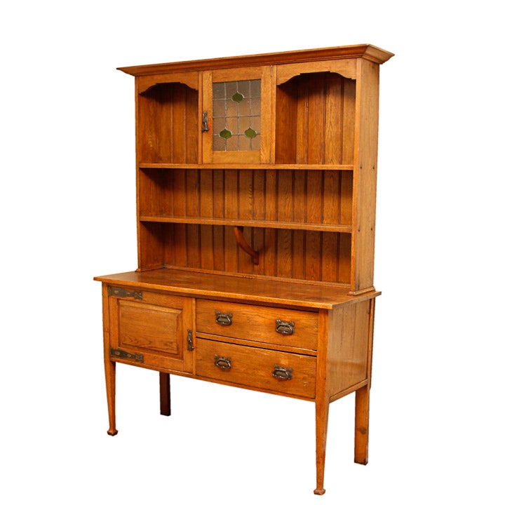Antique Arts and Crafts Oak Sideboard with Stained Glass