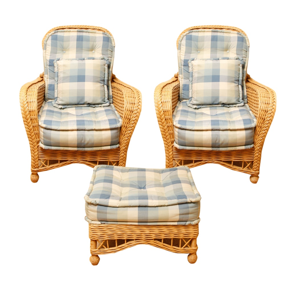 Wicker Patio Armchairs with Cushions and Ottoman