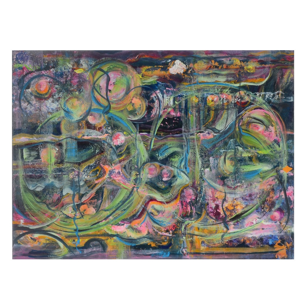 Teresa Hull Tolentino Abstract Mixed Media Painting on Canvas
