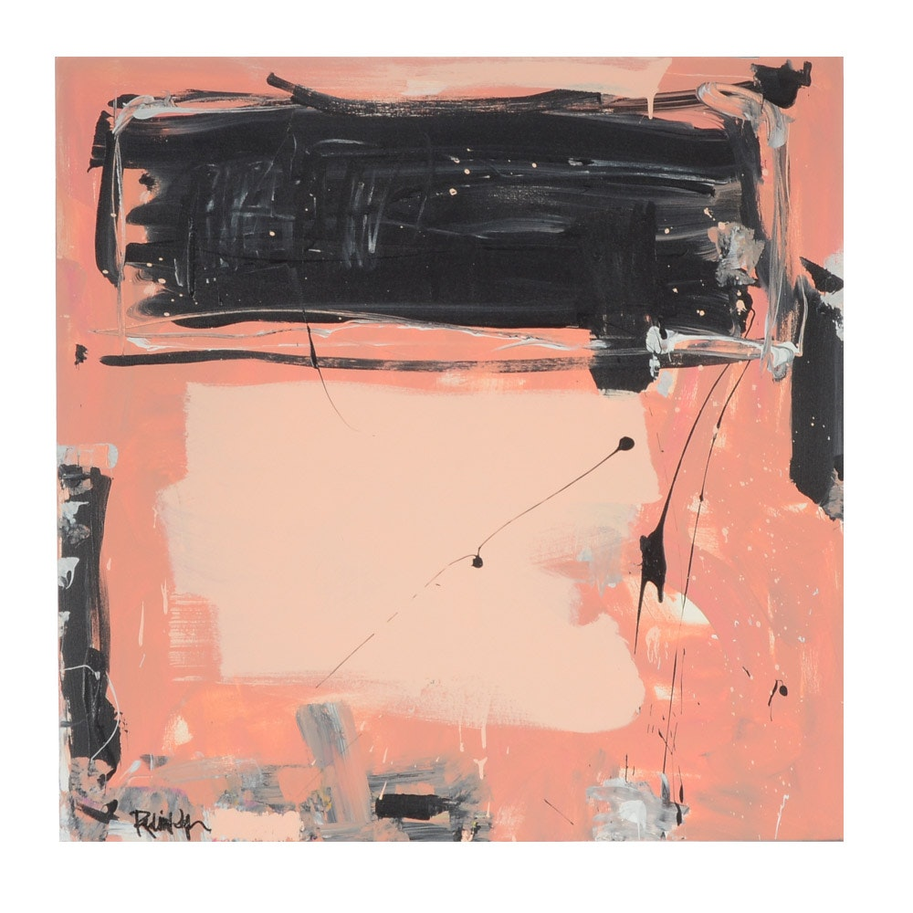 "Robbie Kemper Acrylic Painting on Canvas ""Black Mark, Pink on Peach"""