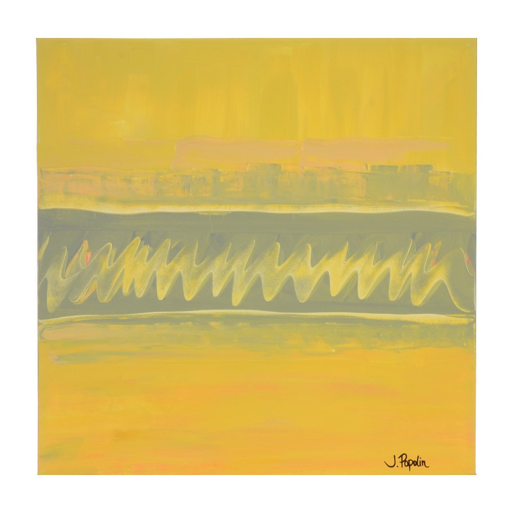 "J. Popolin Original Acrylic Painting  on Canvas ""Yellow with Gray"""