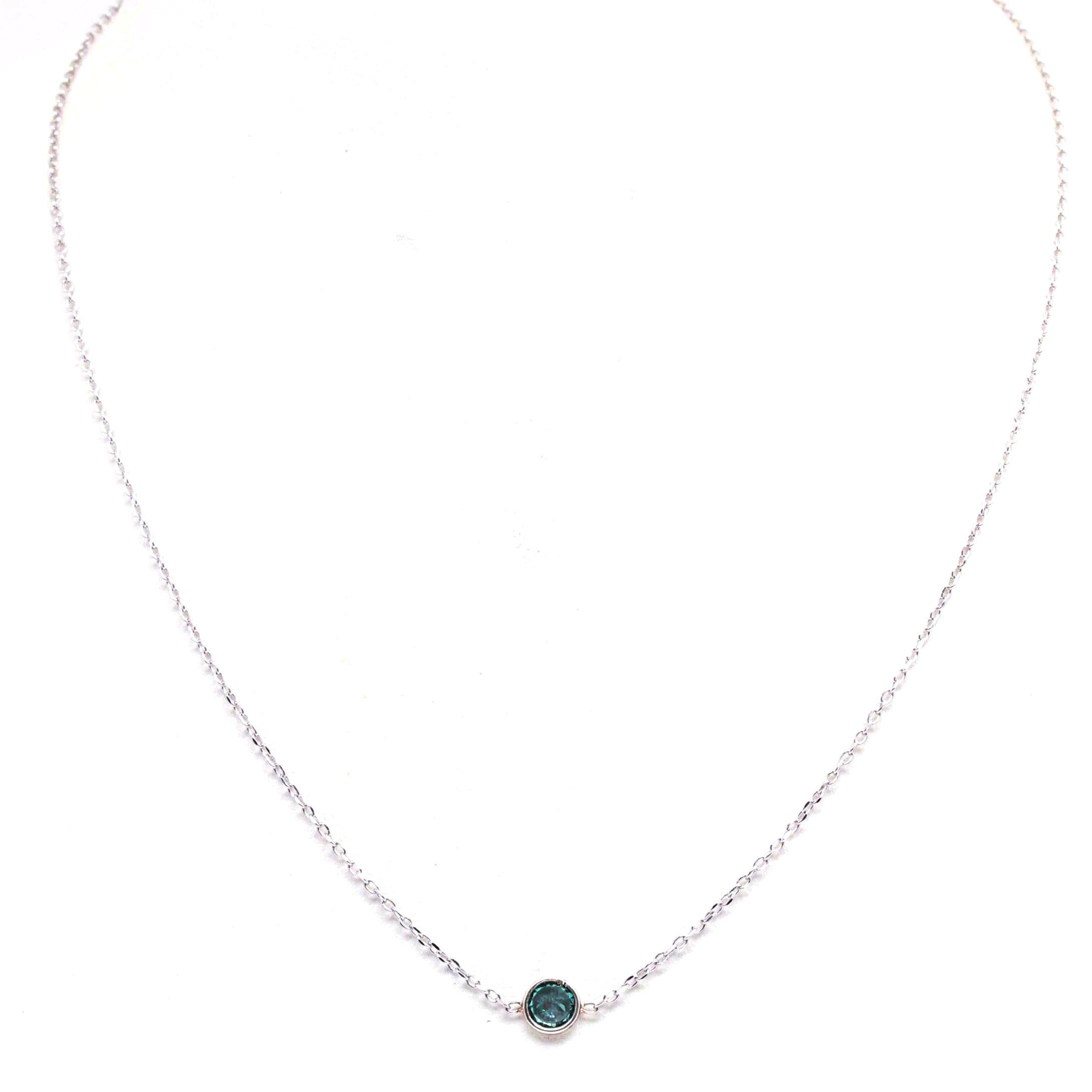 Sterling Silver Blue Diamond Pendant Necklace