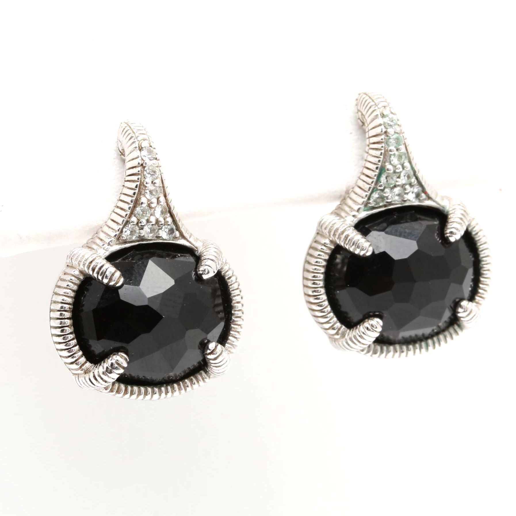 Judith Ripka Sterling Silver Synthetic Black Spinel and White Topaz Earrings
