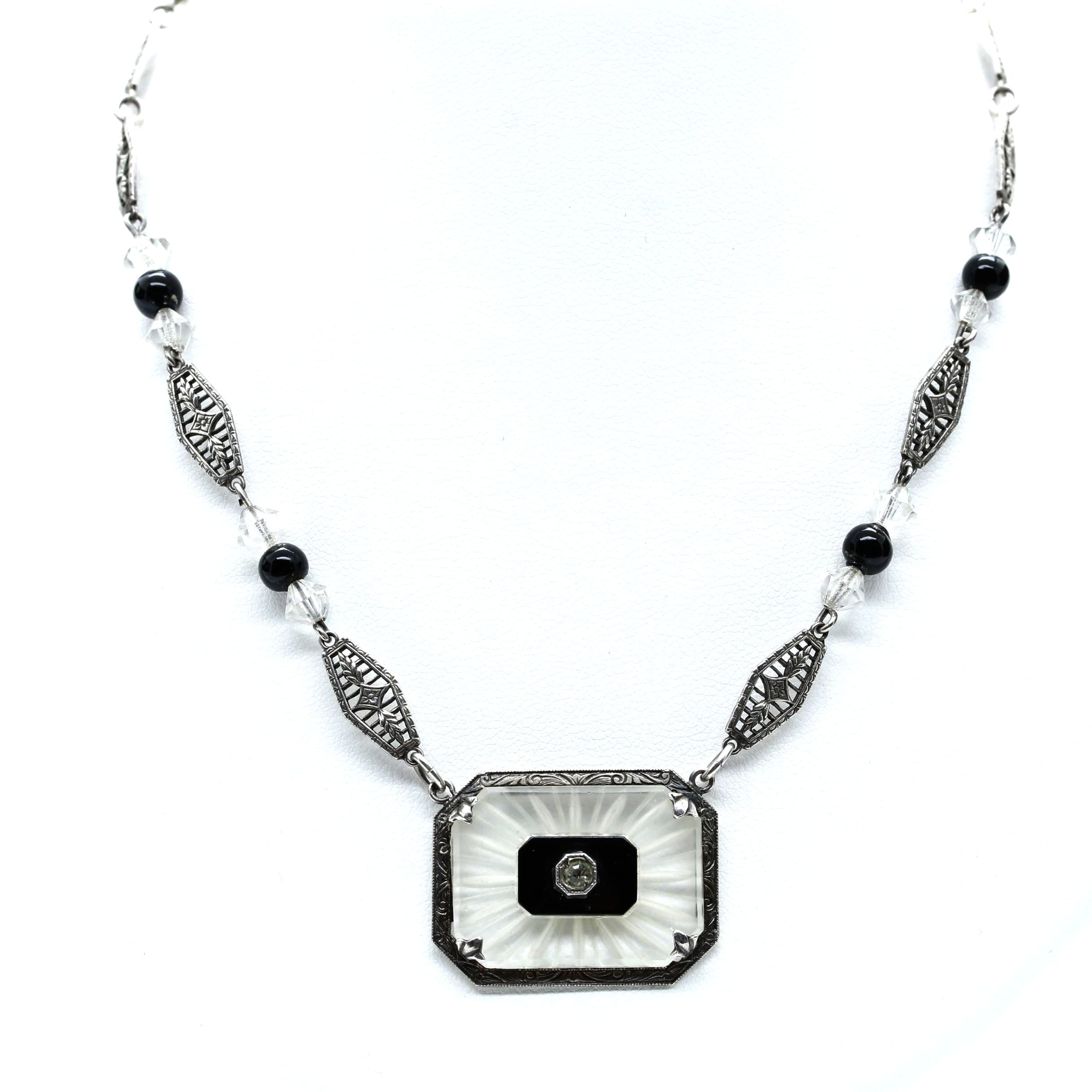 Art Deco Sterling Silver Necklace Including Camphor Glass