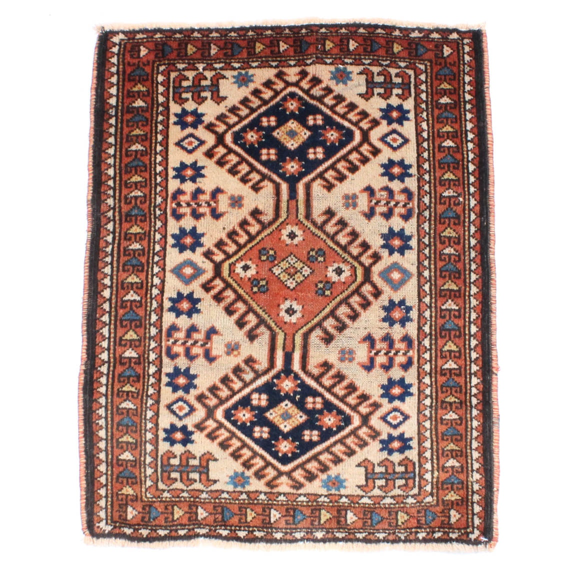 Antique Hand Knotted Persian Qashqai Rug