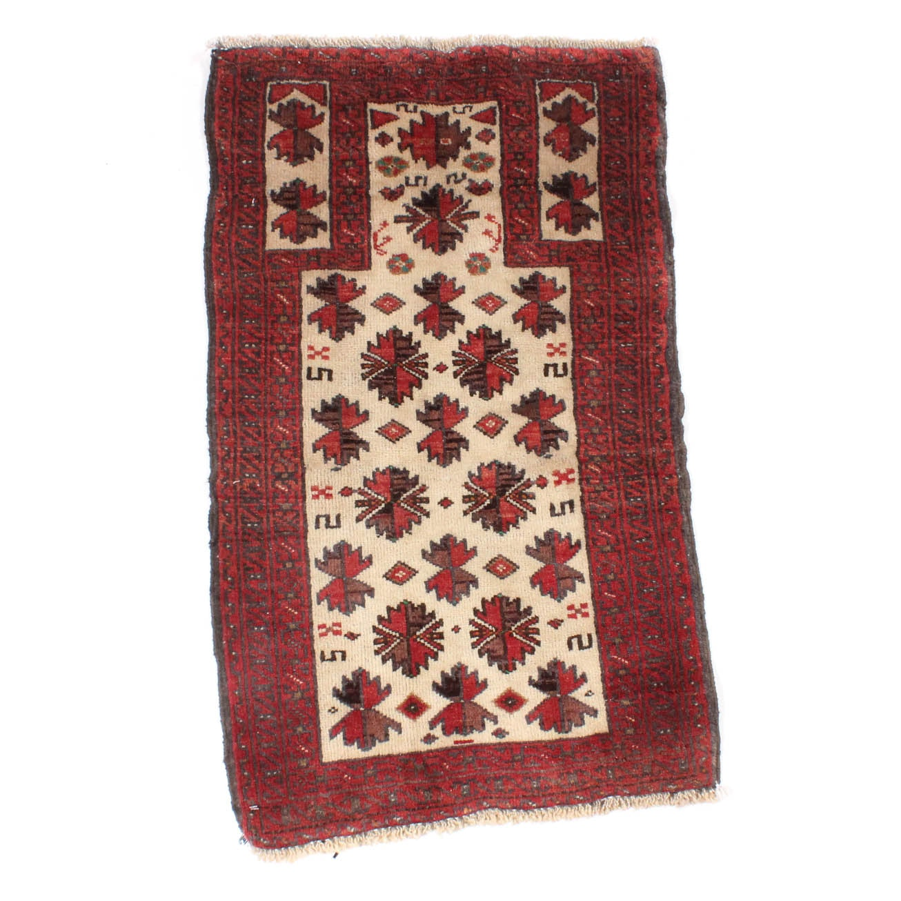 Vintage Hand Knotted Persian Qashqai Prayer Rug