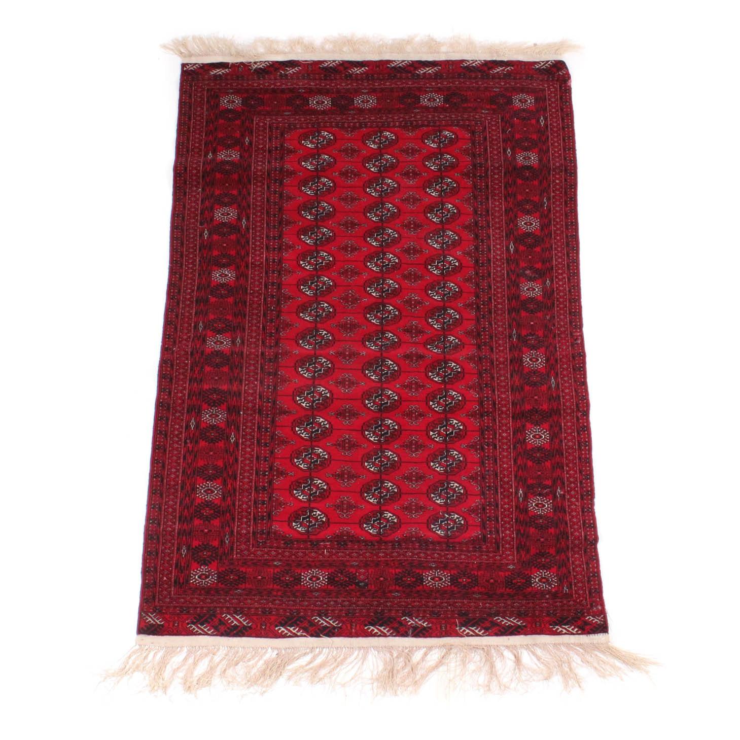 Antique Hand Knotted Afghani Turkmen Rug