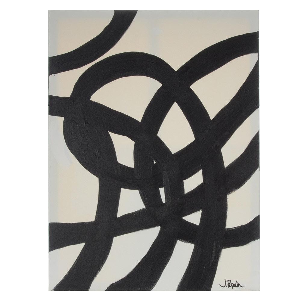 "J. Popolin Abstract Acrylic Painting ""Black Knots"""
