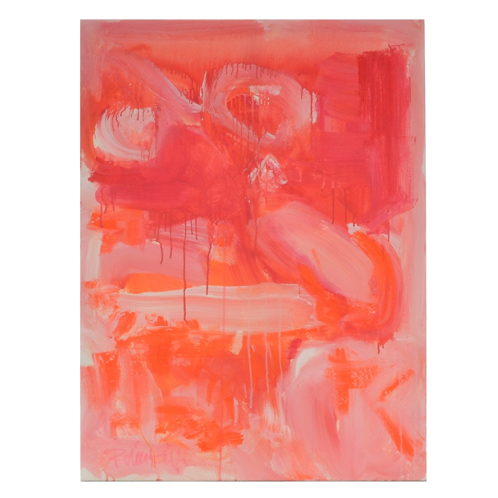 "Robbie Kemper Original Abstract Painting on Canvas ""Orange and Pink"""