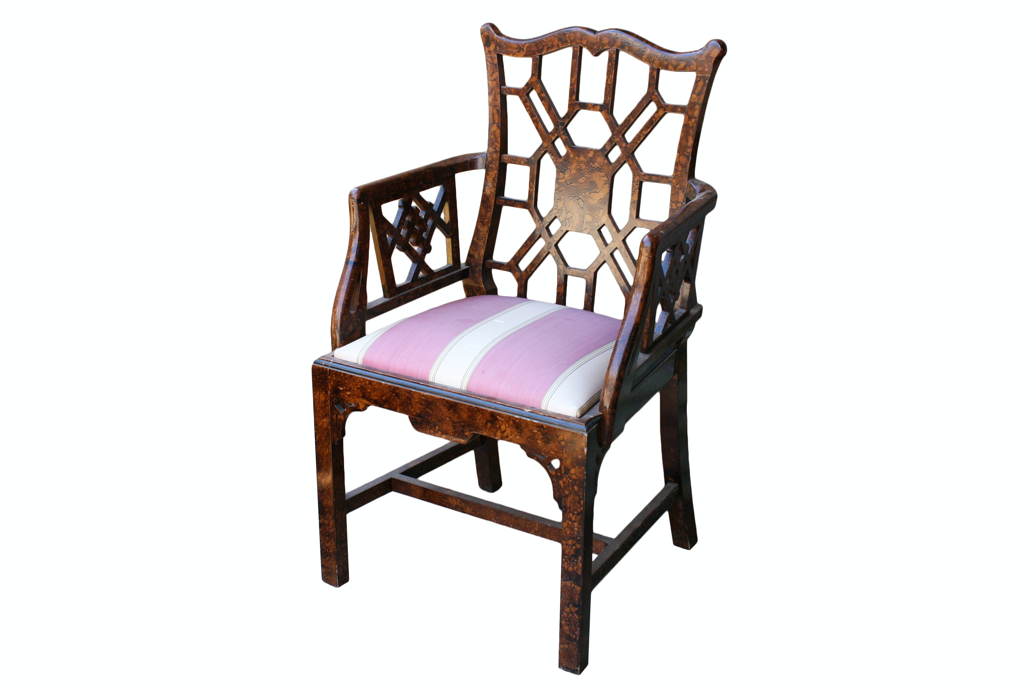 Vintage Asian-Style Armchair with Upholstered Seat
