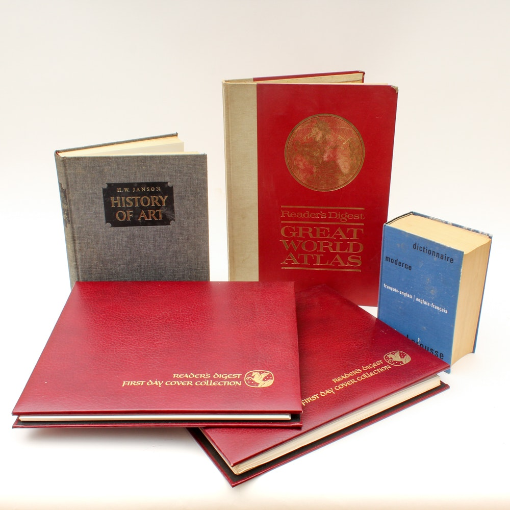 """Vintage Reference Books and """"Readers Digest"""" First Day Covers With COAs"""