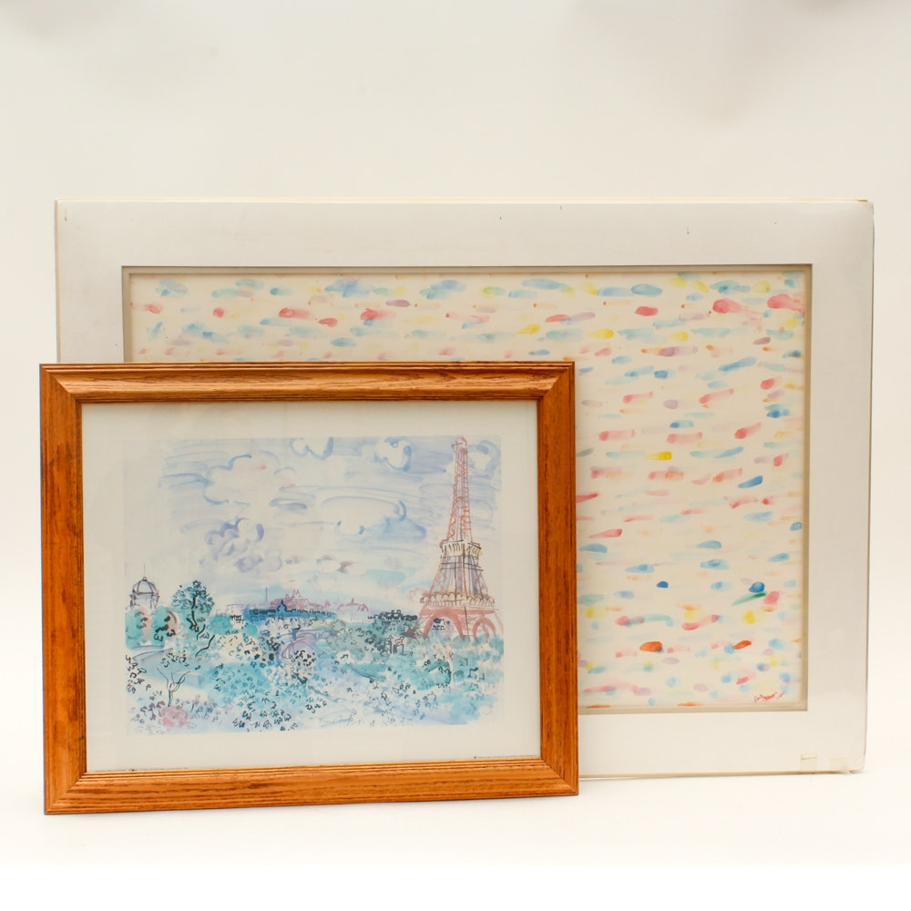 Offset Lithograph and Watercolor Painting Featuring Raoul Dufy
