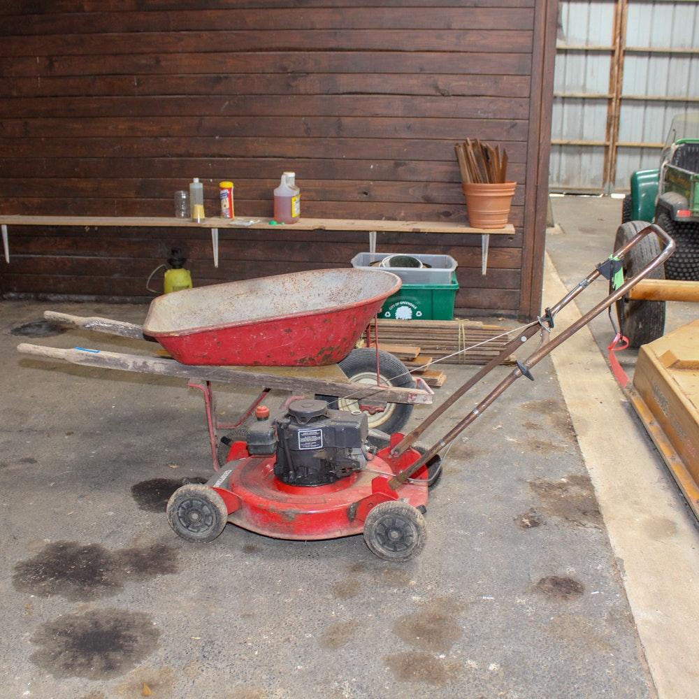 """Agri Fab Wheelbarrow and Craftsman 20"""" Lawn Mower"""