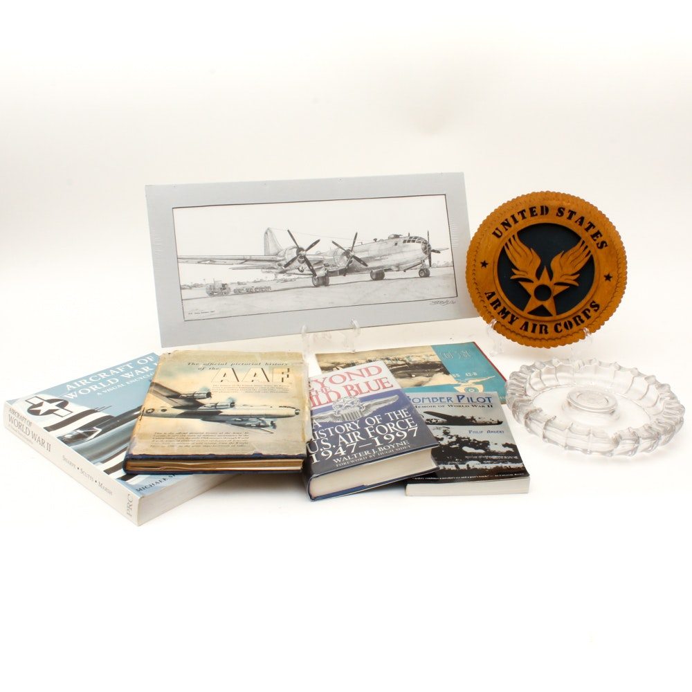 Army Air Corps Memorabilia with Books and Halftone Print of B-29 Superfortress