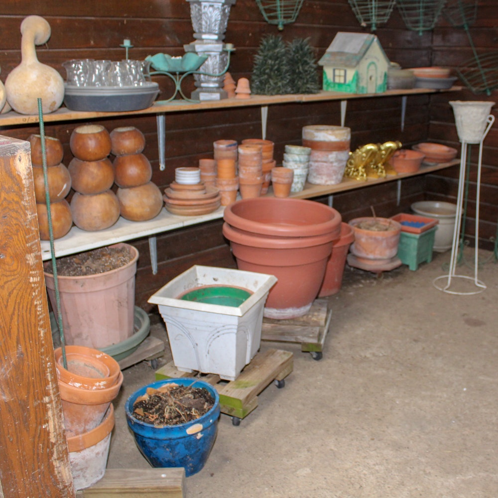 Flower Pots and Large Collection of Garden Supplies