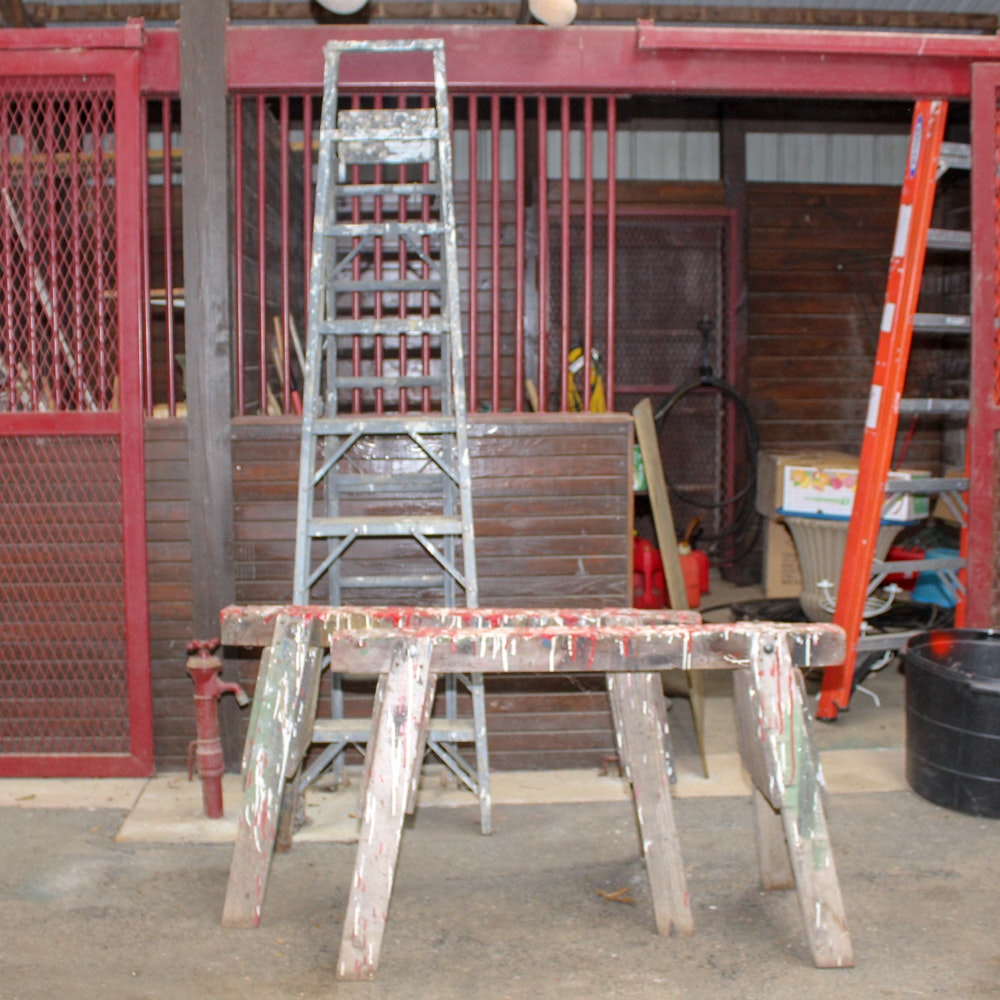 "Sears ""Imperial"" Ladder and Wooden Saw Horses"