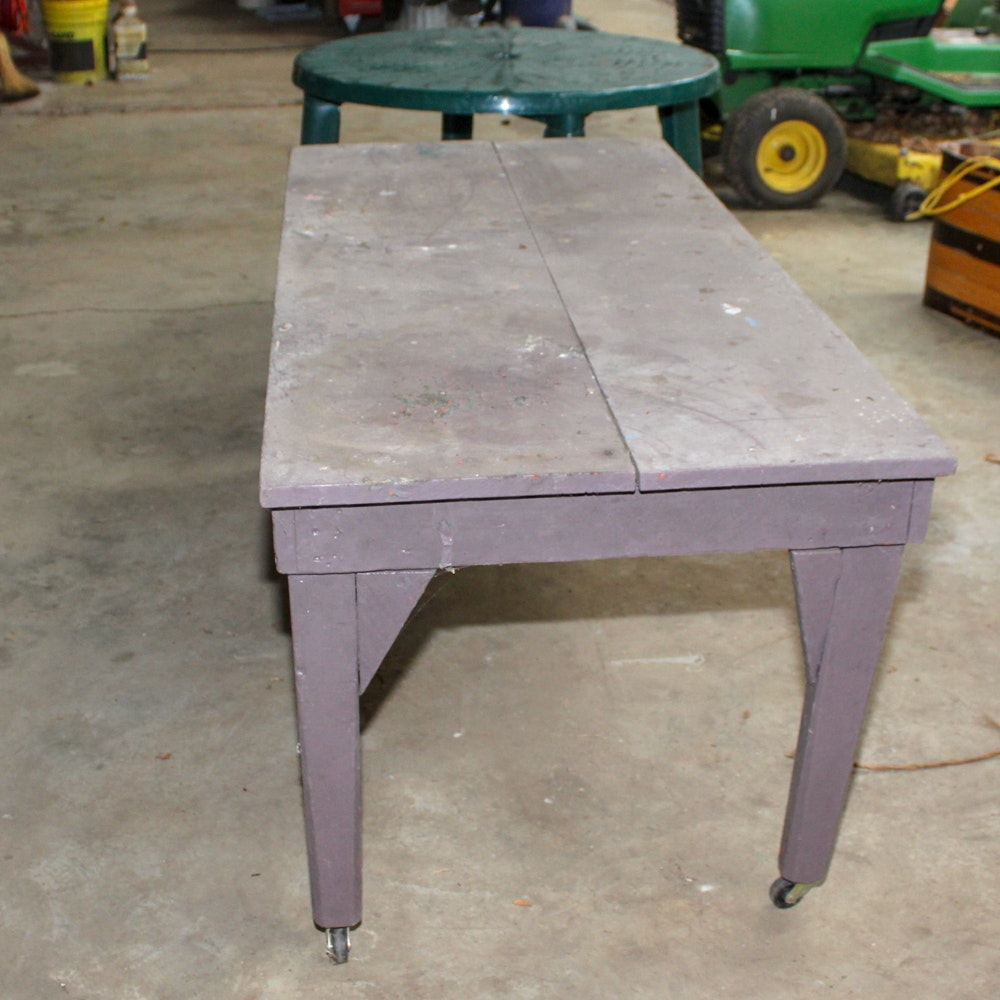 Rectangular Work Table on Casters and Plastic Outdoor Table