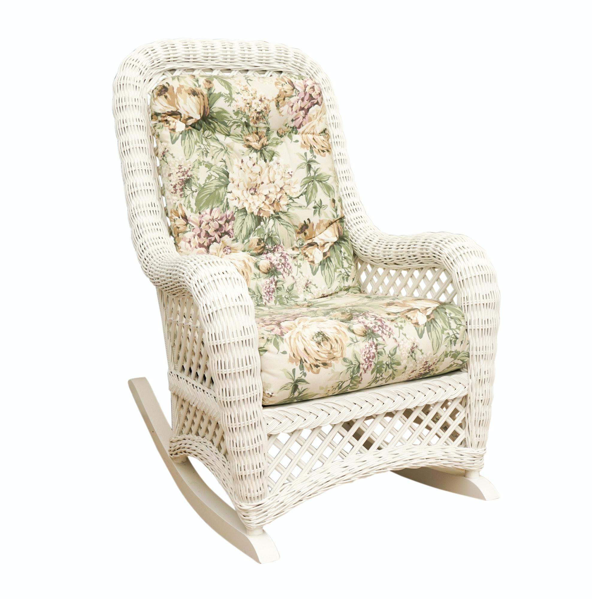 White Wicker Rocking Chair ...