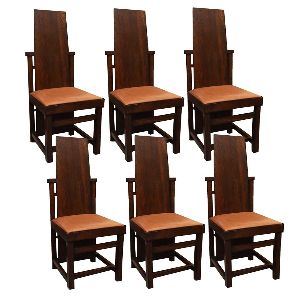 After Frank Lloyd Wright Arts And Crafts Oak Dining Chairs ...