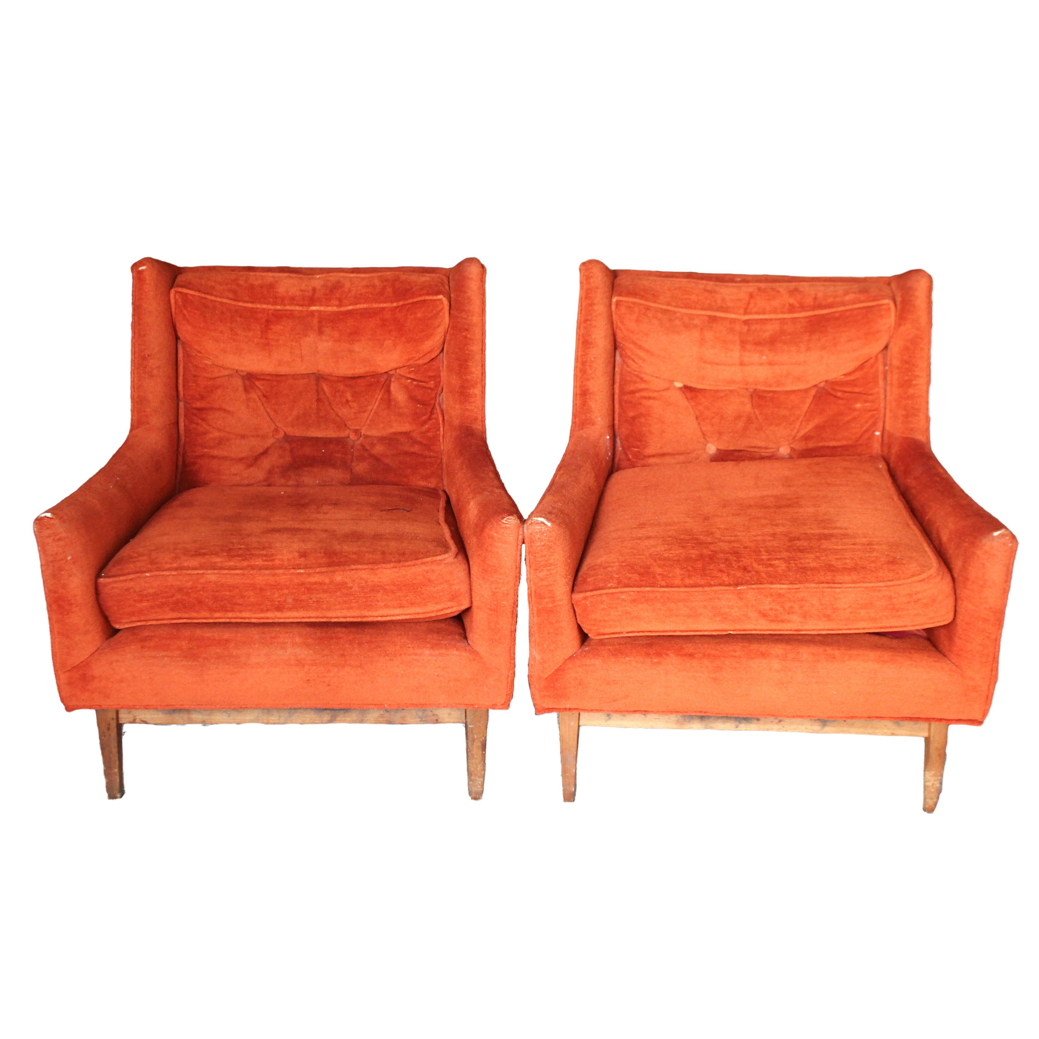 Vintage Mid Century Modern Orange Upholstered Wingback Chairs