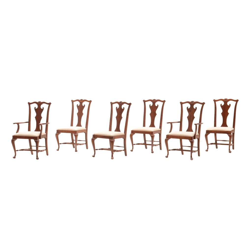 Six American Queen Anne Style Cherry Dining Chairs