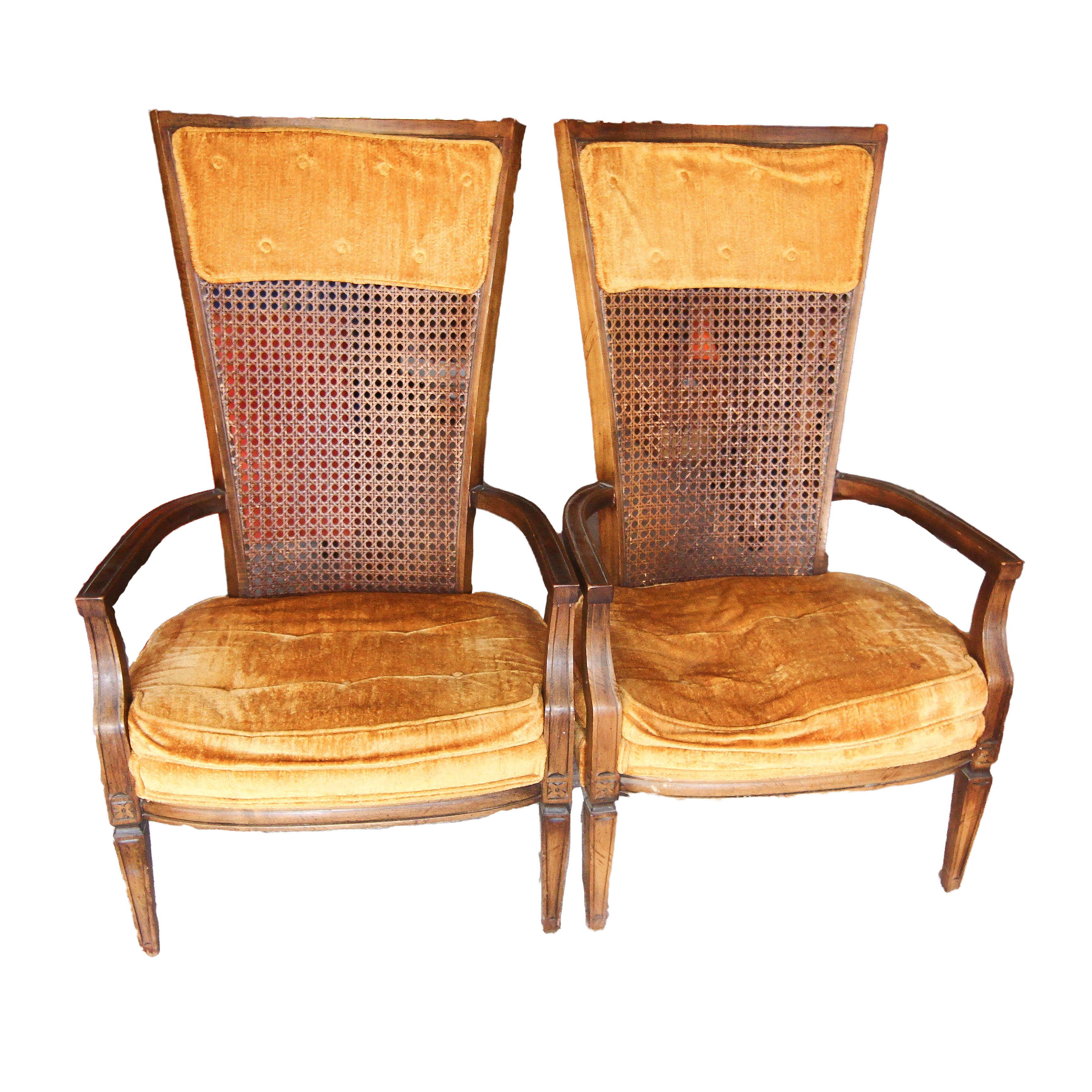 Mid-Century Cane Back Armchairs