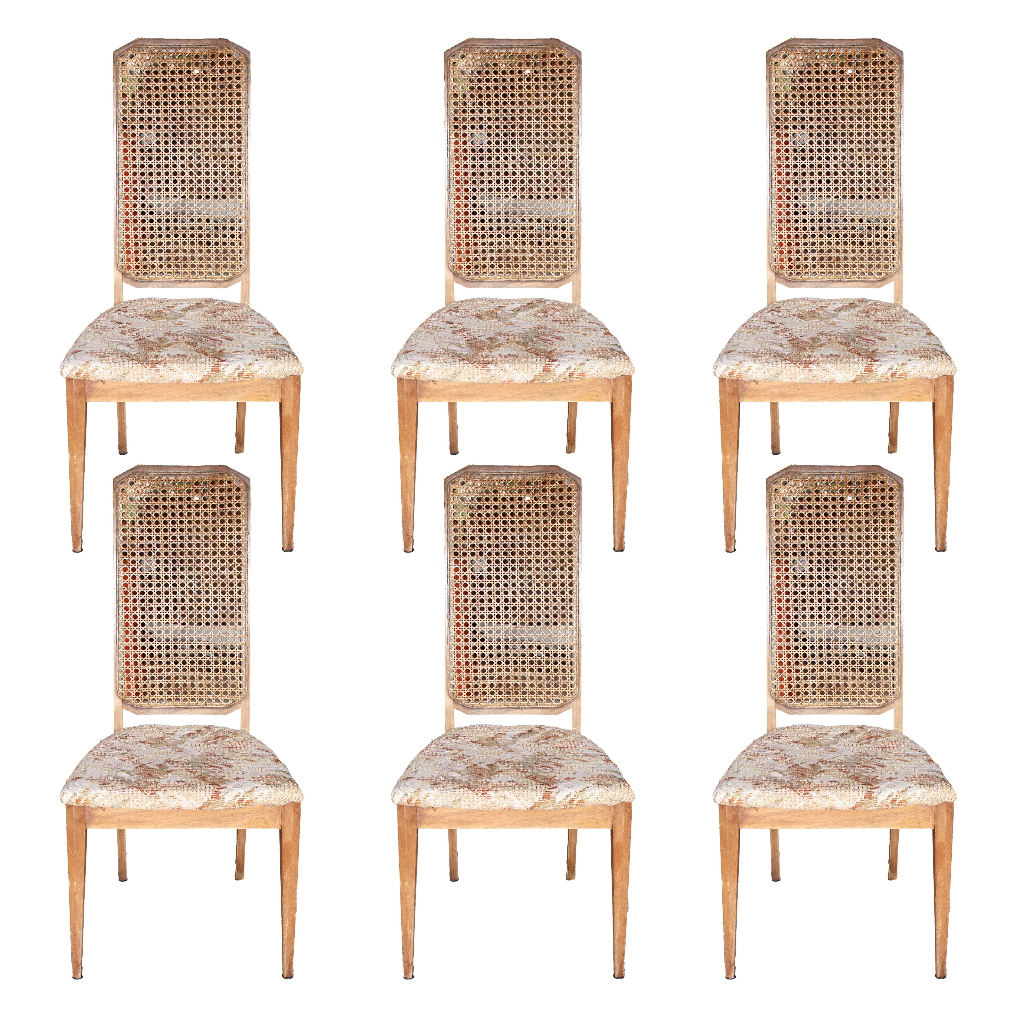 Mid-Century Cane Back Dining Chairs