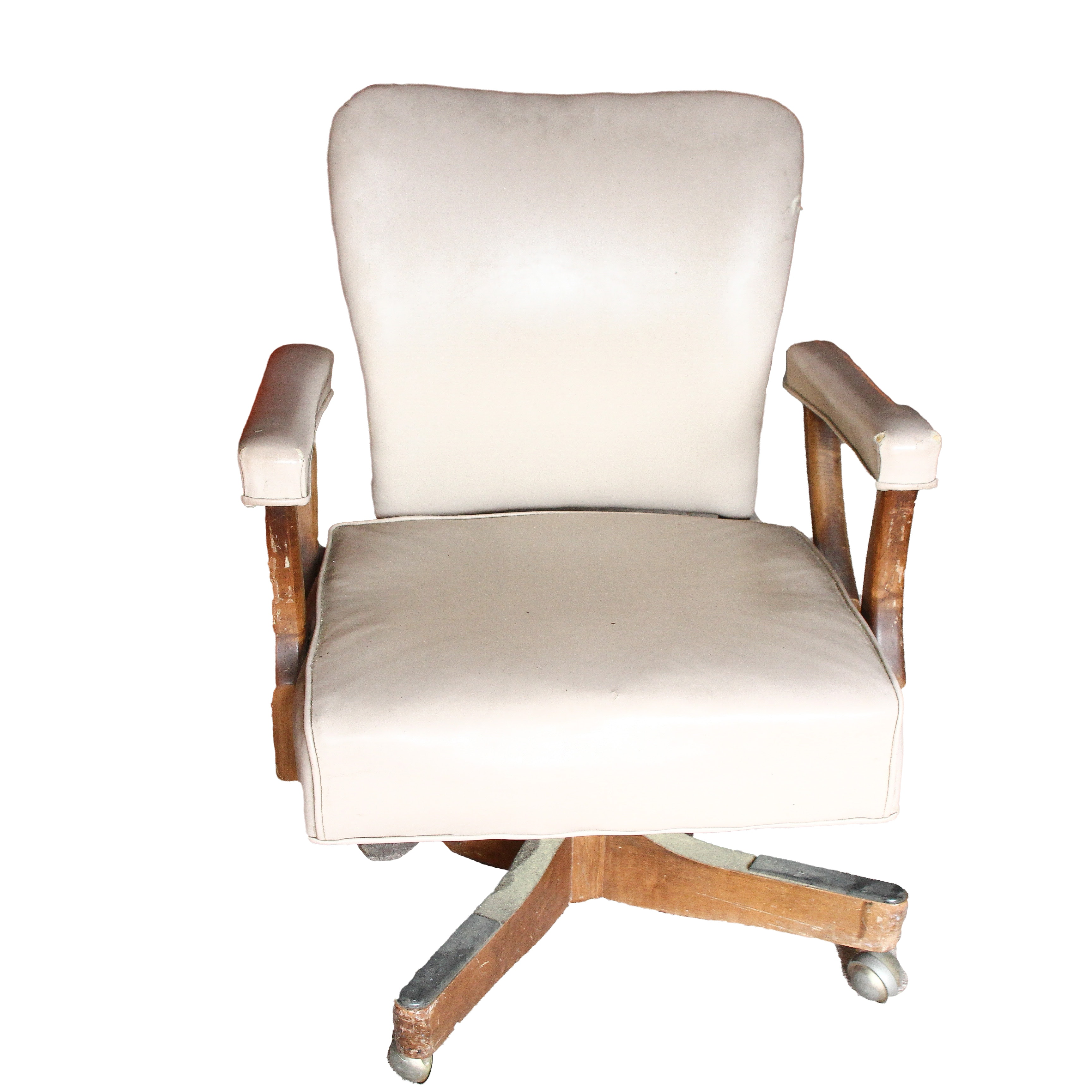 Vintage White Vinyl Rolling Office Chair