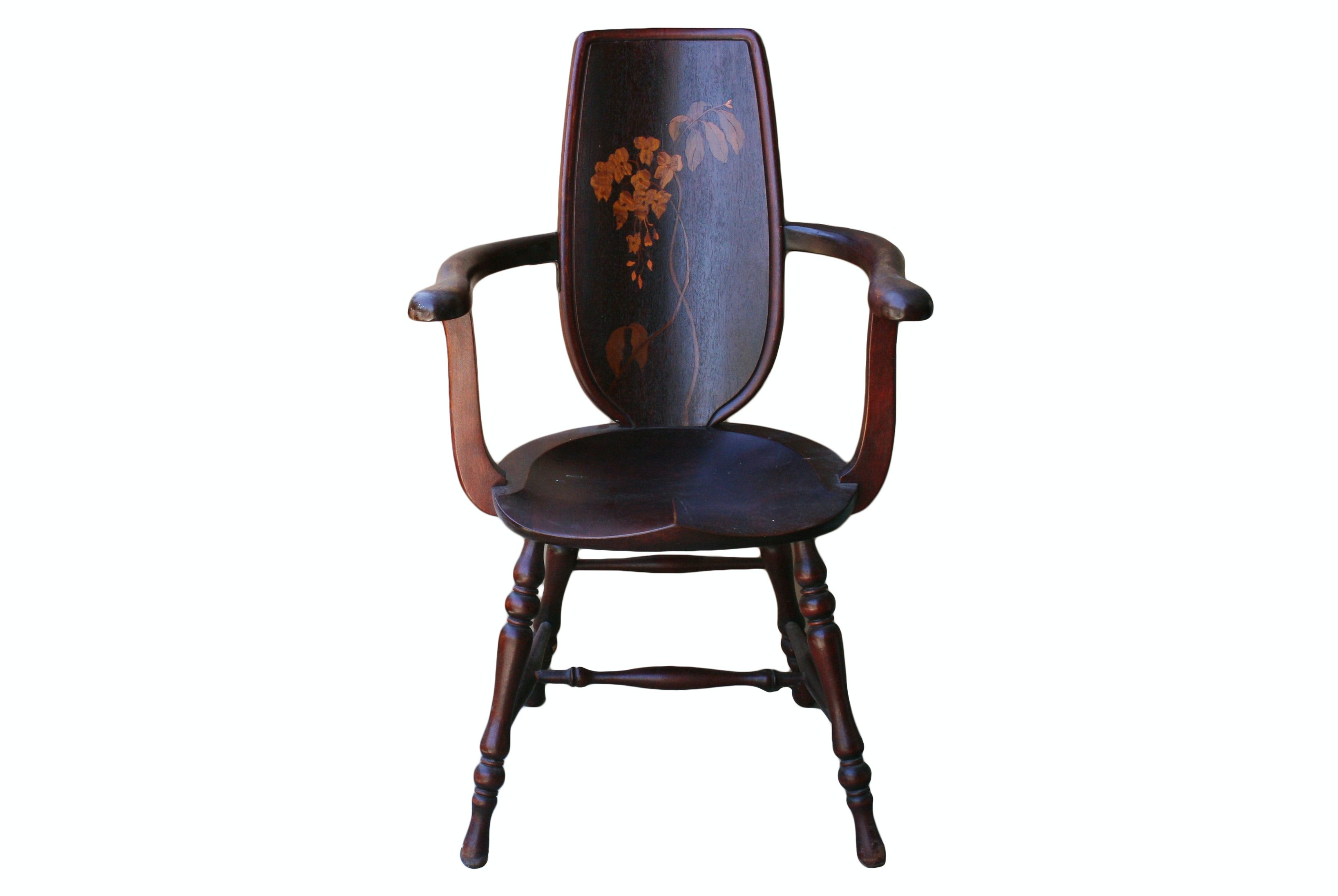 Early 20th-Century Japanese Inlaid Wood Armchair