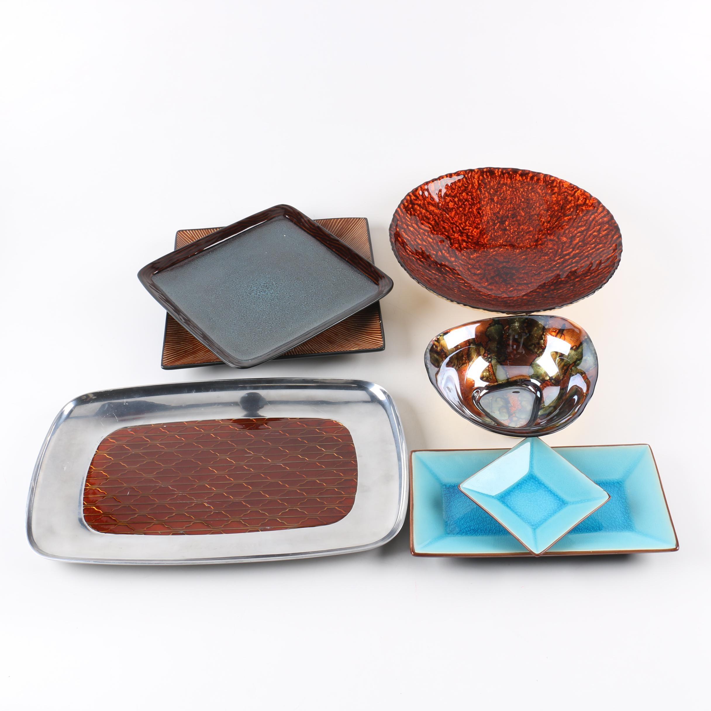 Decorative Serveware Including Mid Century Modern Style Tray