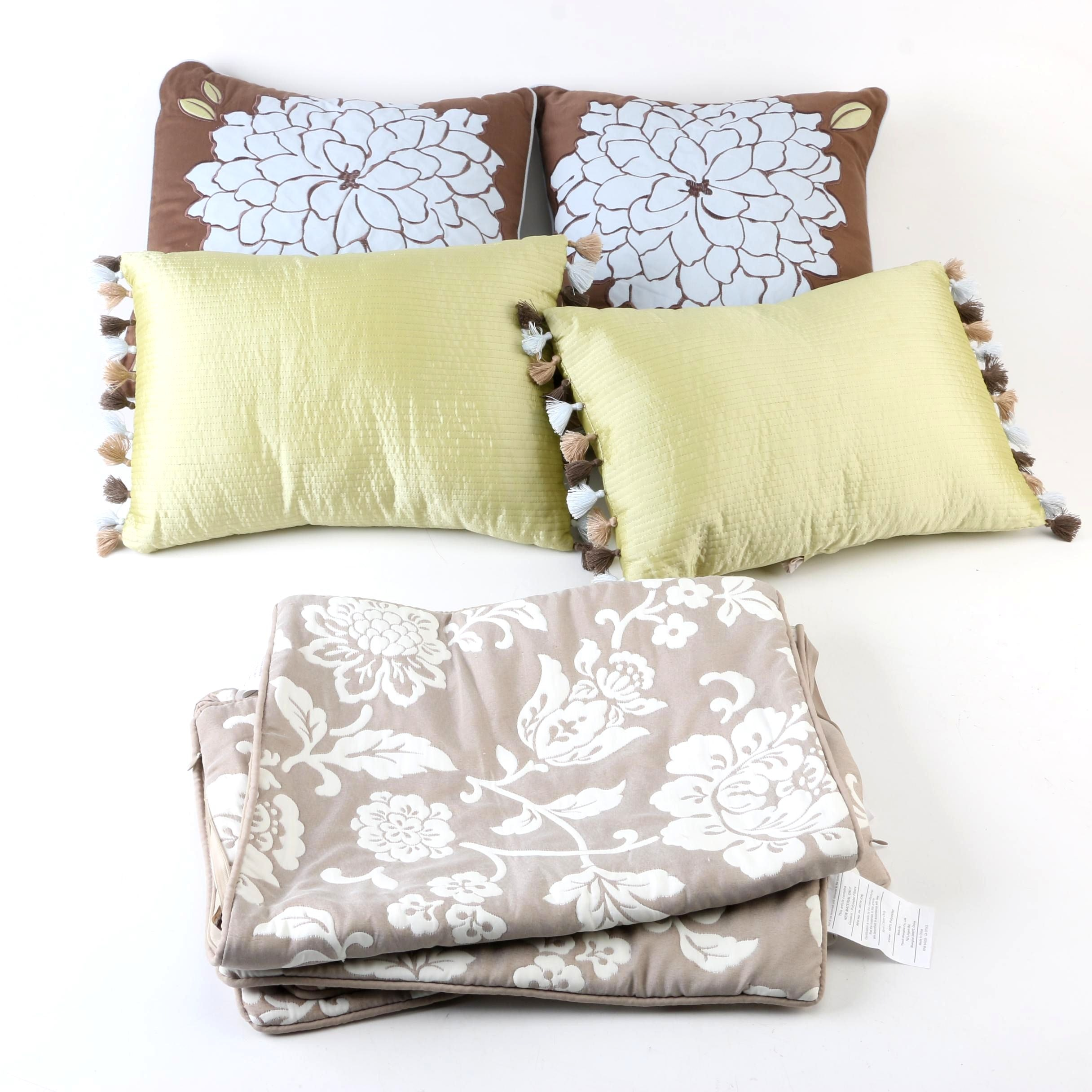 Collection of Decorative Throw Pillows and Shams