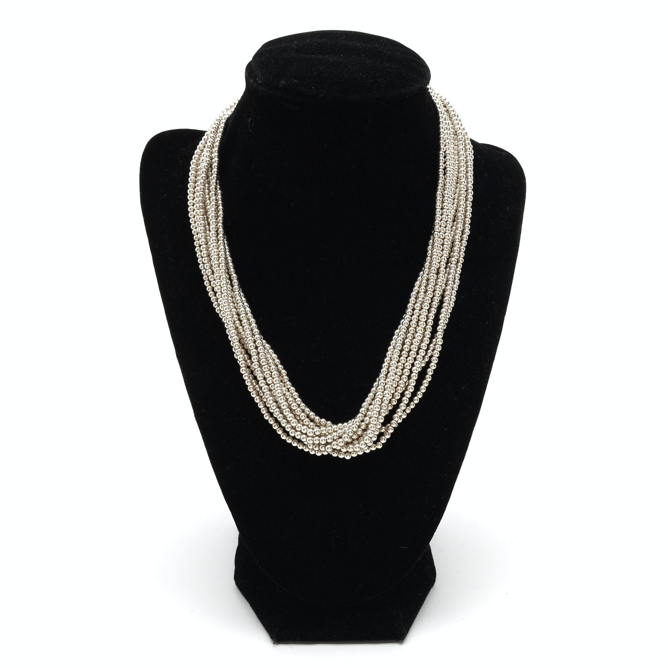Tiffany & Co. Sterling Silver Ten-Strand Torsade Necklace