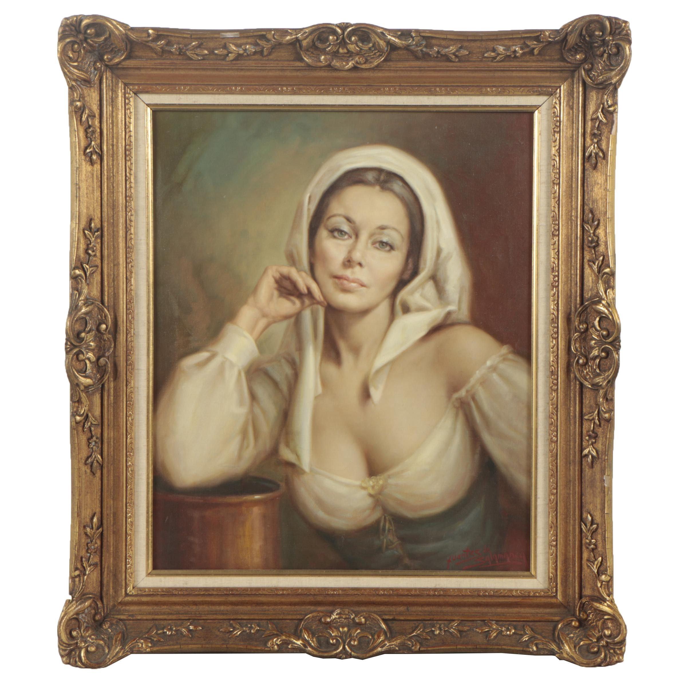 Jose Fuentes de Salamanca Oil Painting Portrait of Young Woman