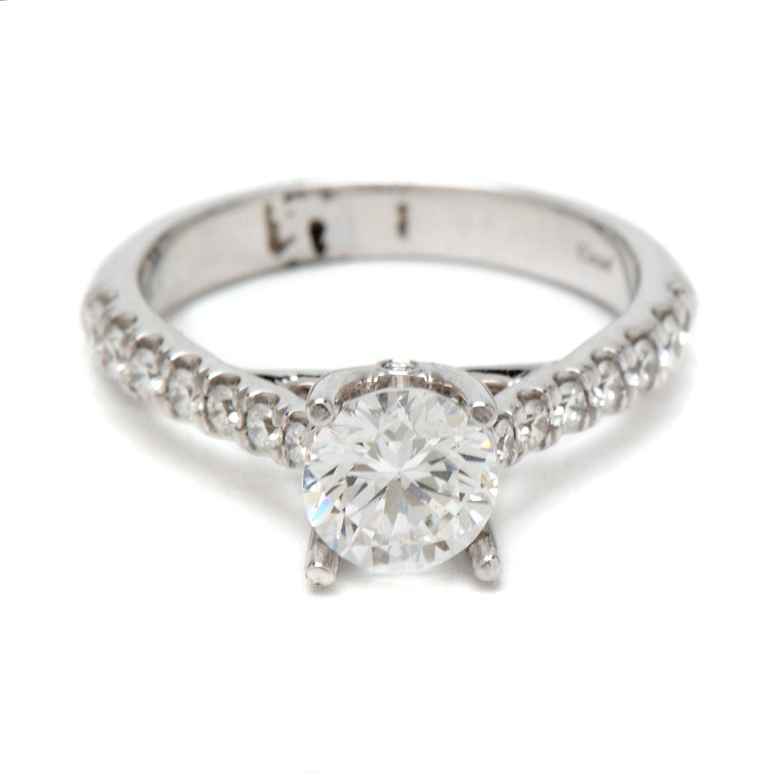 14K White Gold Diamond Semi-Mount Ring With Cubic Zirconia Center Stone