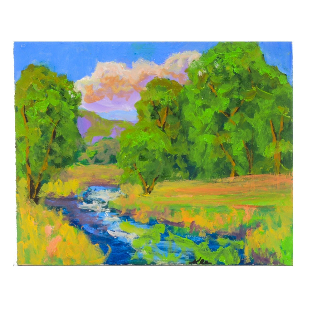 Kenneth Burnside Original Oil Painting of a Summer Landscape