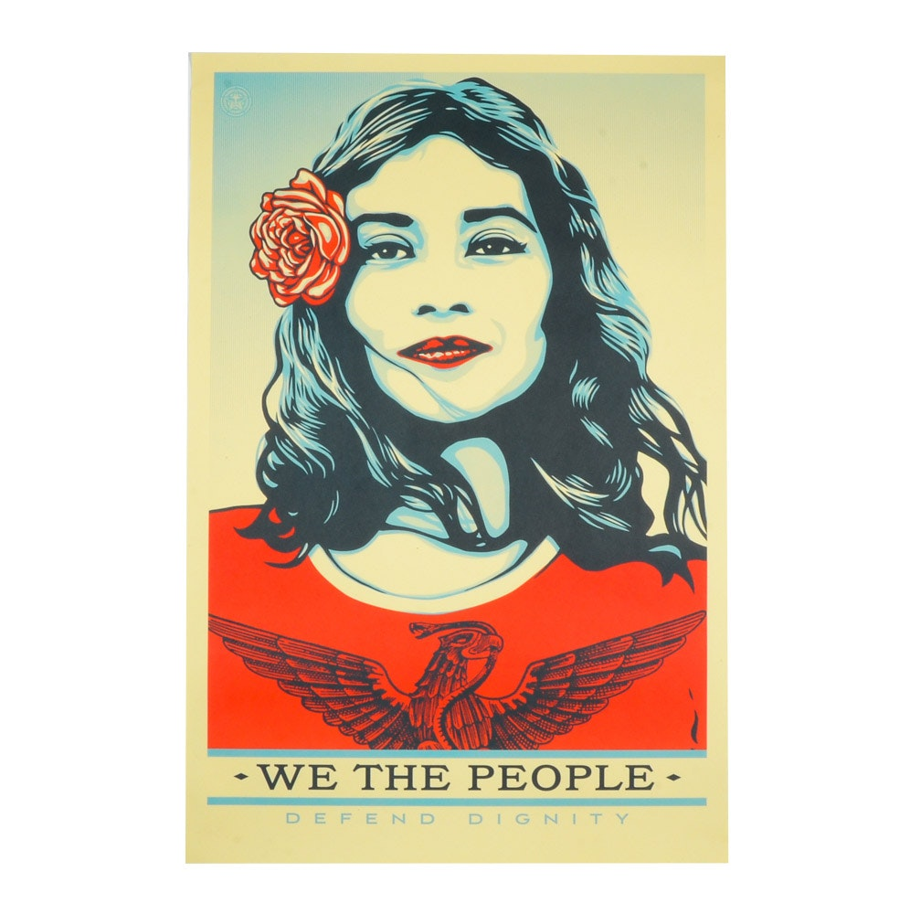 """Shephard Fairey Offset Lithograph Print """"We the People - Defend Dignity"""""""