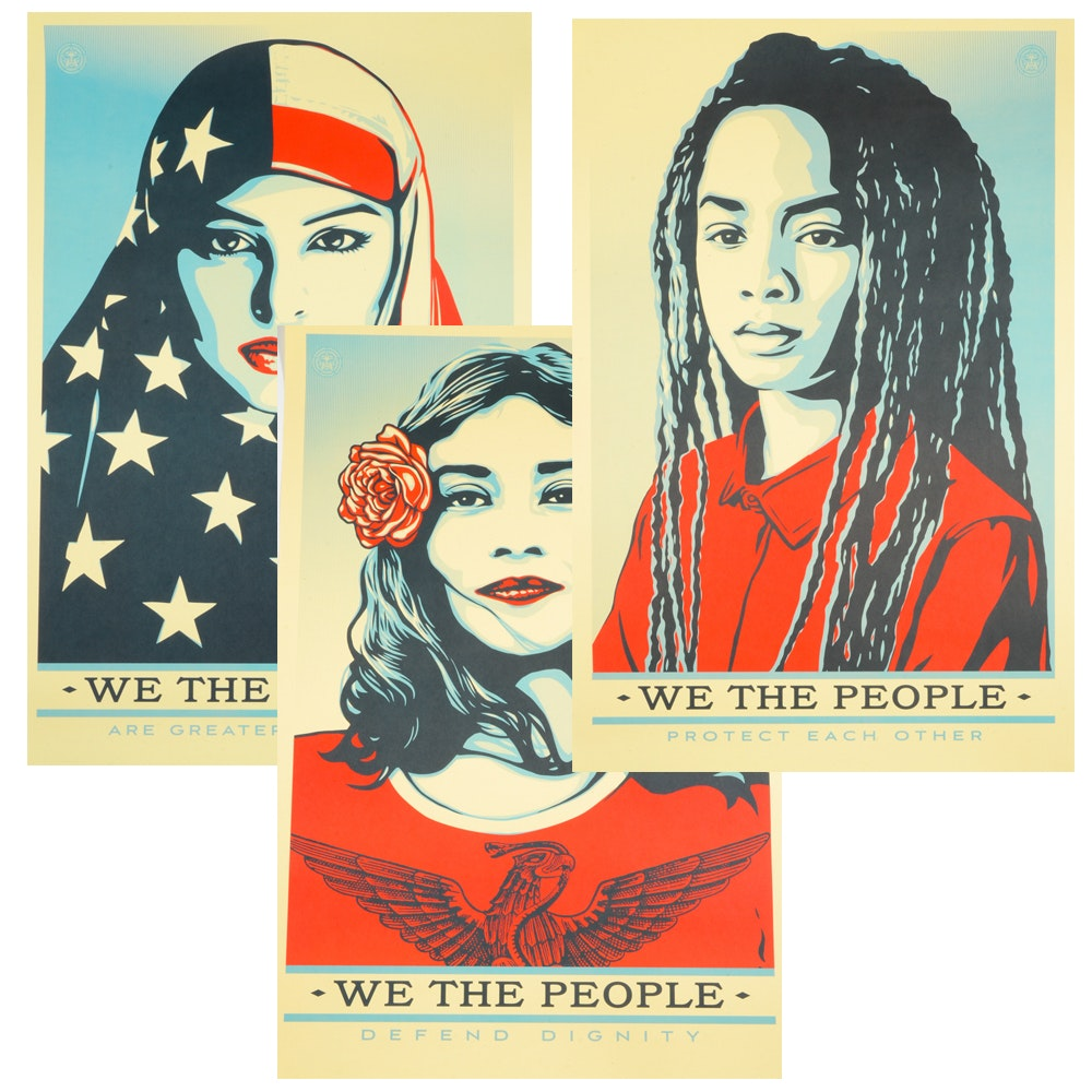 """Shepard Fairey Group of Three Offset Prints """"We the People"""""""