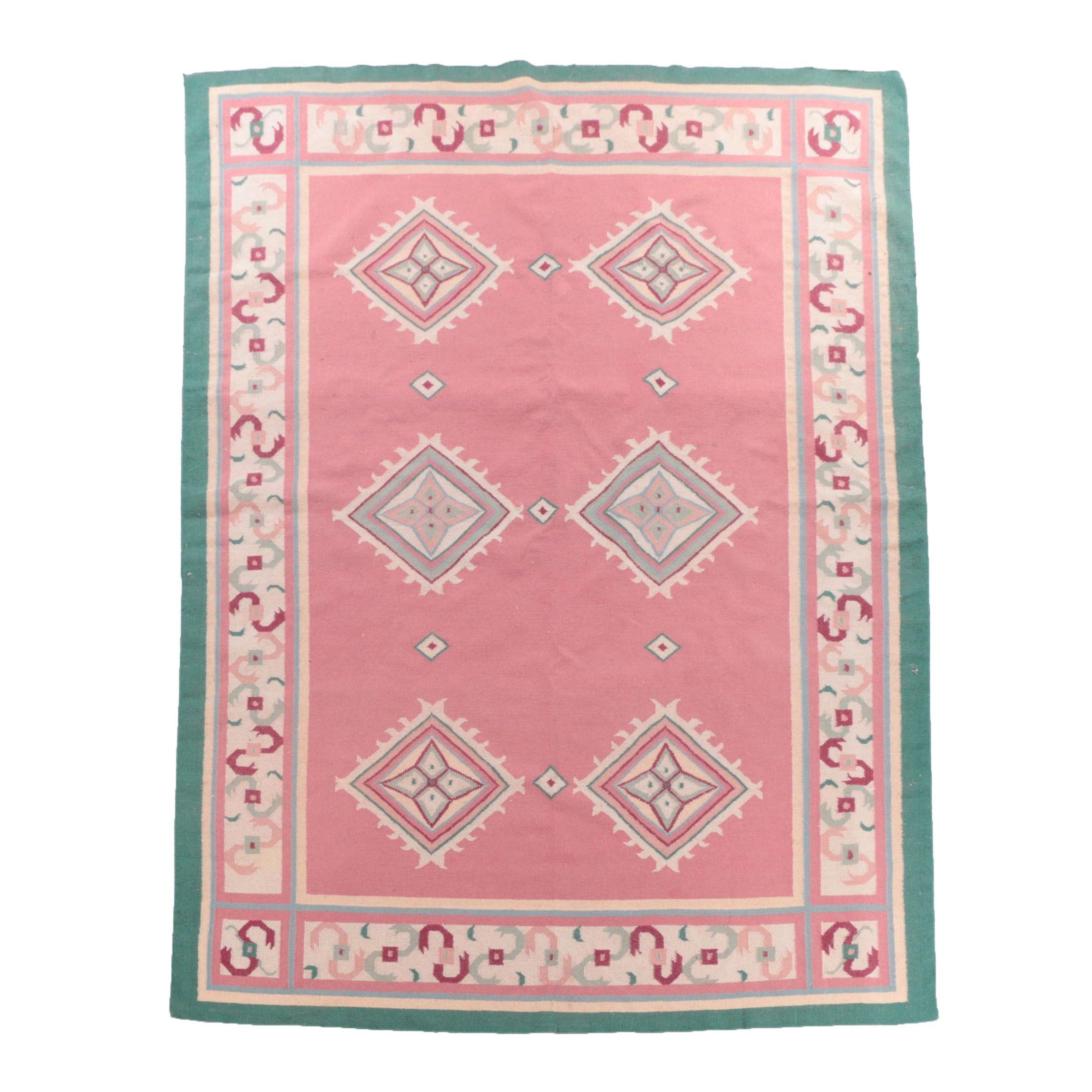Handwoven Indian Dhurrie Wool Area Rug