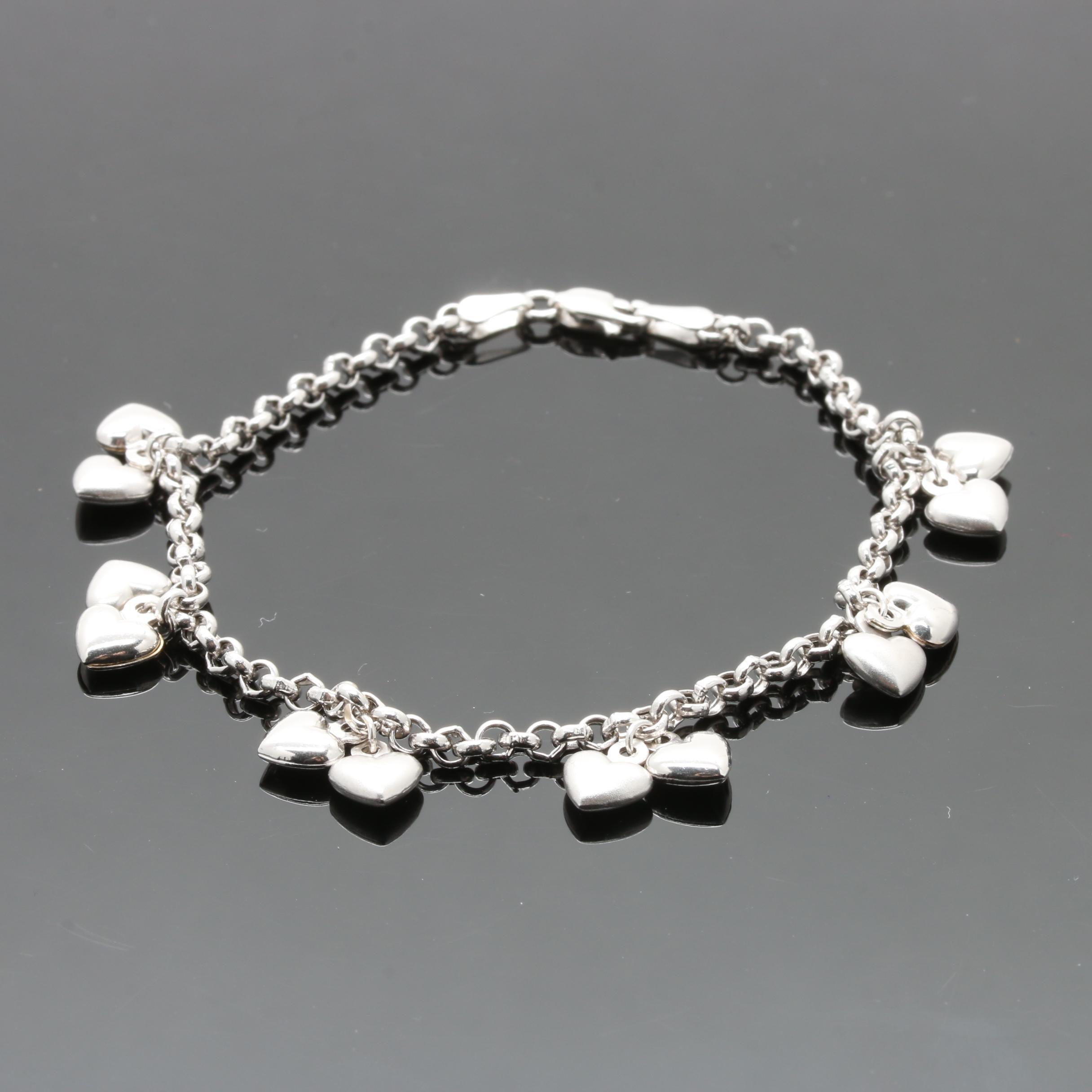 14K White Gold Heart Charm Bracelet
