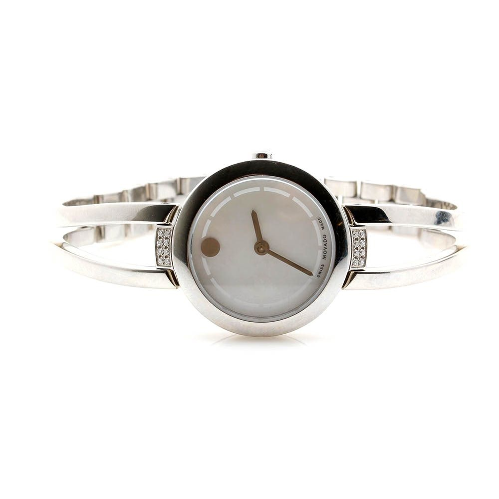 Movado Silver Tone Mother-of-Pearl and Diamond Wristwatch