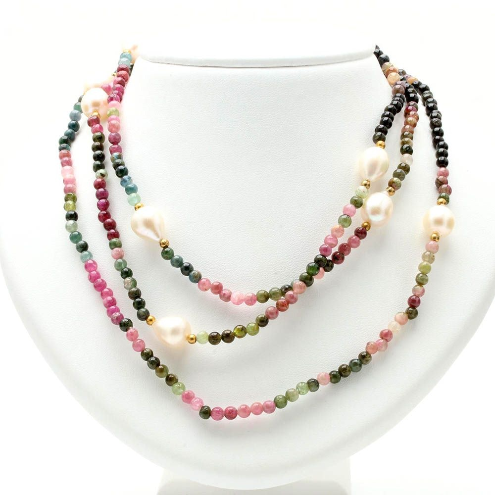 Tourmaline and Cultured Pearl Necklace